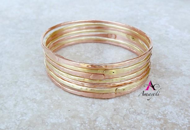 Set of THREE Brass bangle bracelets. Stacking bracelet. Charm bracelet. Gold bangles.
