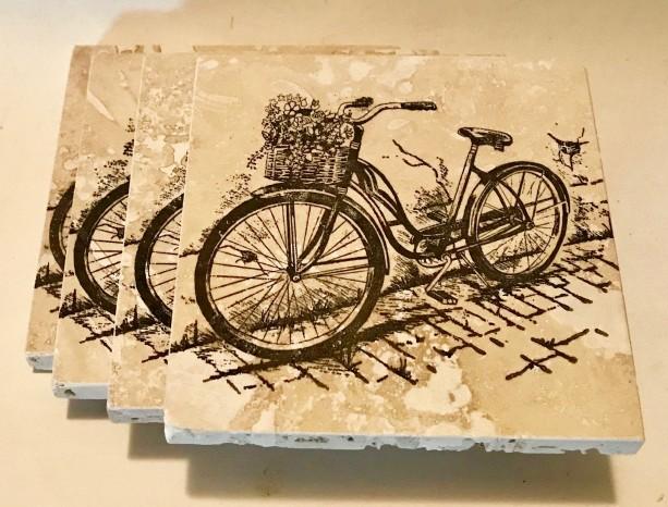 Custom Coasters-Non Stick Coasters-Bicycle Coasters-Travertine Tile Coasters-Drink/Barware-Personalized Coasters-Housewarming-Drinkware-Gift