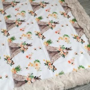 Teepee Minky Baby Blanket Teepee Boho Flower Girl