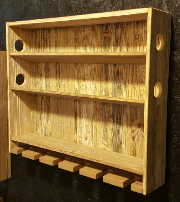 Country Rustic Wine Rack With Stemmed And Stemless Gl Storage