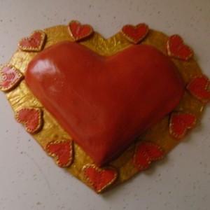 Valentine Heart Wall Hanging – Paper Mache, Handmade, OOAK