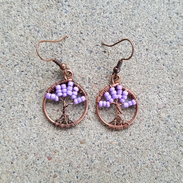 Tree of life miniature earrings in purple