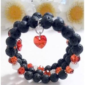 Lava Rock Beads Bracelet, Lava Rock Jewelry, Black Bracelets for Women, Jewelry for Sale, Heart Charm Bracelet, Crystal Bracelet, Red White