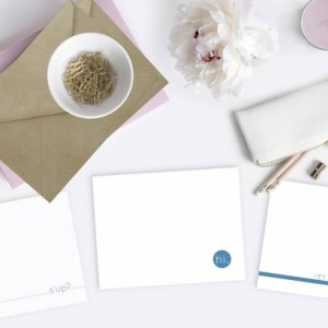 Custom Note Cards - Original - Set of 6 - Blank Inside - Blue & White