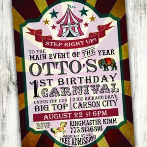 Circus/Carnival Birthday Party Invitation