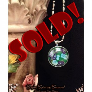 "SOLD! - ""Papers"" Chiyogami 075 Silver Round Pendant"