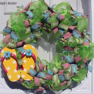 Flip Flop Wreath, Deco Mesh Wreath, Summer Wreath, Gift Wreath, Door Decor, Lime Green Wreath, Green Wreath, Mesh Wreath