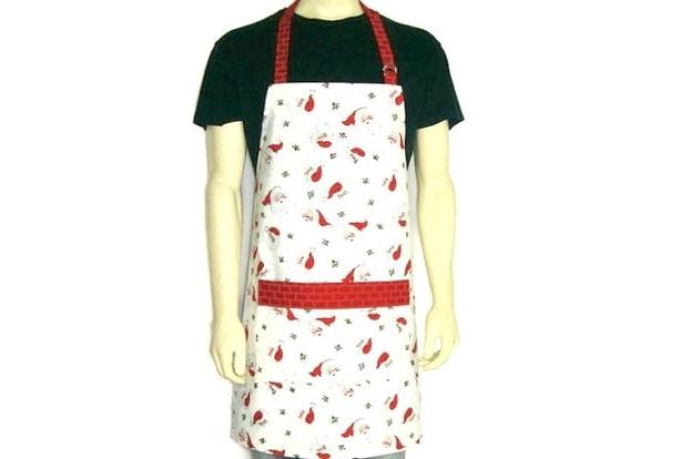 Santa Claus Apron , White with Red Brick Trim , Christmas Kitchen Decor