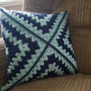 Granny square flower pillow.  Handmade pillow.  Home decor.