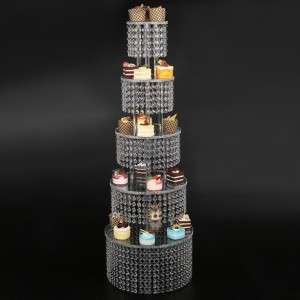 Cupcake Stand - Premium Cake Display Tower Rack - 5 Tier Round Acrylic Wedding Dessert Server