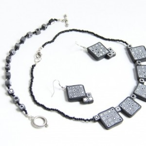Polymer Clay Necklace, Bracelet and earrings