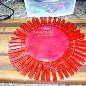 Red Glitter Wooden Sunburst Mirror