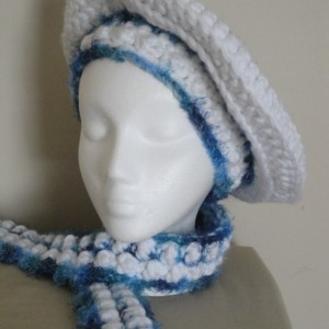 """Blue and white crocheted Hat and Scarf set """"Blue Skies"""", Beautiful crocheted blue and white Beret and neckwarmer, very soft crocheted hat set"""