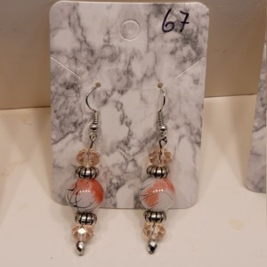 Pink bead with silver accent earrings