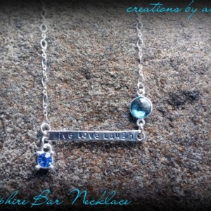 Sterling Silver & Aquamarine Bar Necklace
