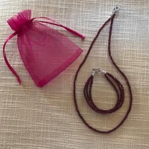 Garnet Necklace,3 Layered Beaded Bracelet Jewelry Set