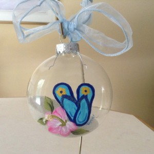 Ornament,  glaass, flip flops on a beach, with hibiscus flower, hand painted