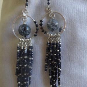 Blue Orb Fringe Earrings (poetry-inspired)
