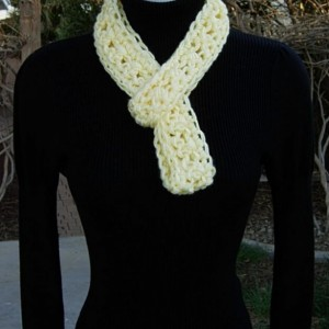 Light Yellow SUMMER SCARF, Small Skinny Infinity Loop, Extra Soft Crochet Knit Circle Narrow Lightweight Pale Cowl, Ready to Ship in 2 Days