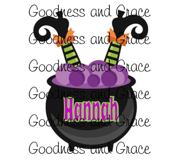 Cauldron and Witch DIY Halloween Design - Personalized with Name - Lightweight Vinyl Transfer - Halloween Party, Shirt, Raglan, Pumpkin