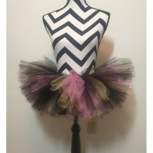 Uptown Girl Black, Gold, and Pink Sparkle Tutu - New Born & Baby Sized