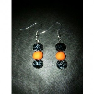 Orange and black earrings