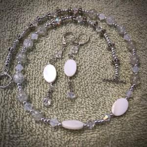 "My Beloved handmade beaded necklace/earrings set 19"" long"