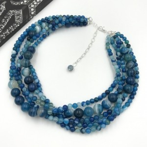 Chunky Agate Statement Necklace, Chunky Necklace, Agate Stone Necklace, Blue Beaded Necklace, Multi Strands Blue Statement Necklace