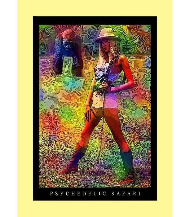 3 Trippy Handmade Keepsake Greeting Cards 5x7 Blank: PSYCHEDELIC SAFARI