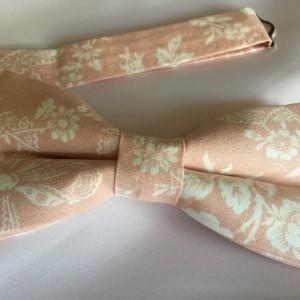 Peach Bow Tie - Blush Bow Tie - Peachy Blush Bow Tie - Floral Bow Tie - Wedding Bow Tie - Peach Blush Bow Tie