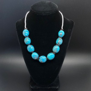 Boho Chunky Turquoise and Sterling Silver Necklace