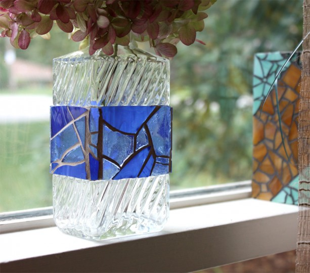 Blue Mosaic Bottle, Blue Mosaic Vase, Stained Glass Blue Bottle