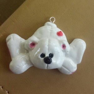 Polar Bear Polymer Clay Charm, Polar Bear Zipper Charm, Zipper Pull, Teddy Bear Charm, Teddy Bear Zipper Pull
