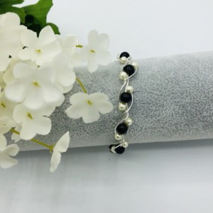 """7"""" Silver and Black Twisted Wire Bracelet"""