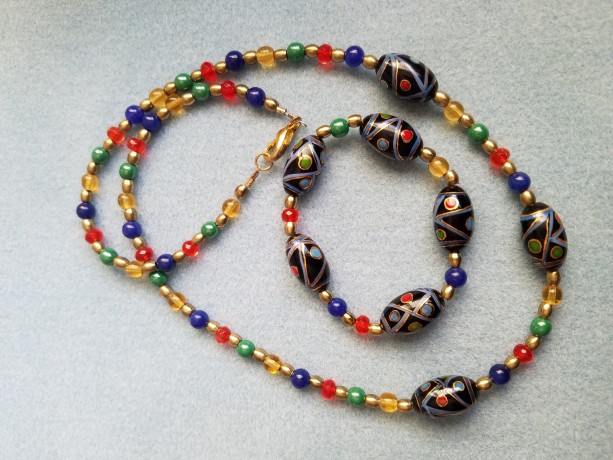 multicolored necklace bracelet set