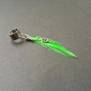 Bright Green Feather Ear Cuff w/ 4 Leaf Clover / Shamrock Earring