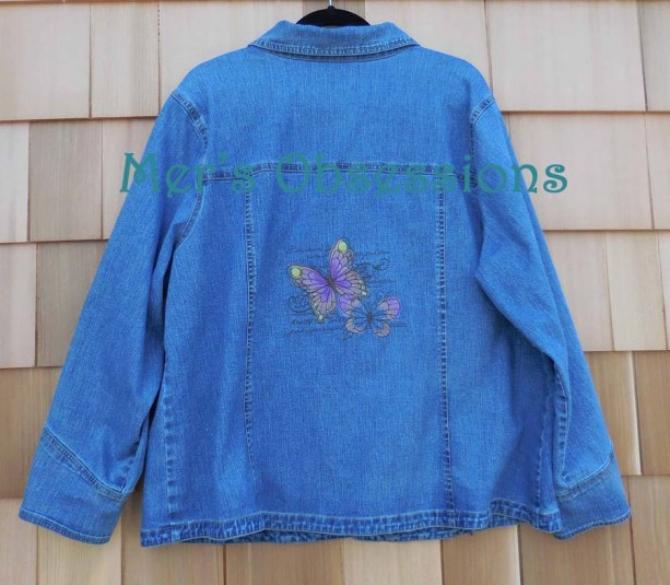 Women's Denim Jacket with Embroidered Butterflies
