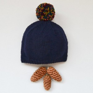Navy hand knit baby hat -- handmade newborn hat with pompom