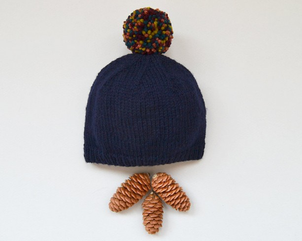 Navy hand knit baby hat -- handmade newborn hat with pompom