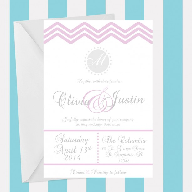 Pink and Gray Chevron Wedding Invitation, Fun and Elegant, Customizable, Printed Invitation, Chevron Pattern, Deposit
