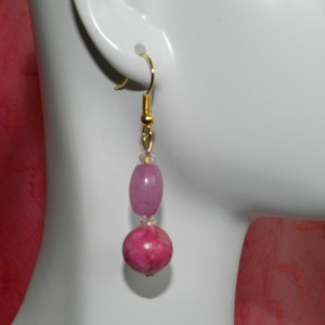 Pink Malay Jade and Howlite Earrings A11282