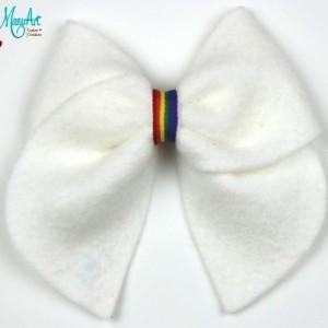 Classic White Felt Rainbow Bow