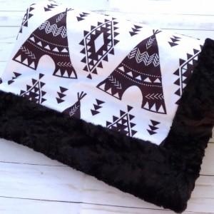 Monochrome Baby Blanket - Minky Baby Blanket - Teepee Baby Blanket - Black White - Teepee Blanket - Boho Baby Blanket - Tribal Nursery Decor