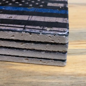 American Flag with Blue Line Natural Stone Coasters, Set of 4 with Full Cork Bottom