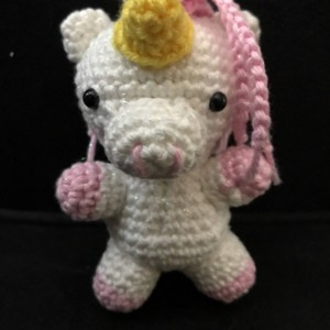 Small unicorn plush, pink sparkle hair