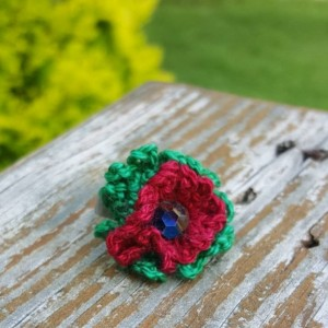 Flower Ring - Statement Ring - Red - Green - Crochet - Christmas
