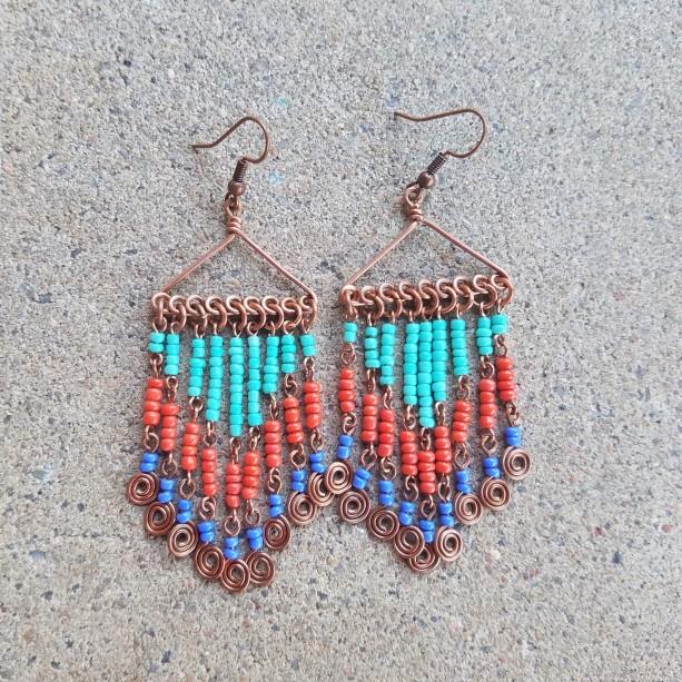 Festive in orange, aqua and blue