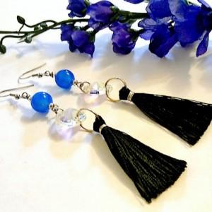 Blue Carnelian Earrings, Long Tassel Earrings, Black Tassel Jewelry, Rare Gemstone Jewelry, Royal Blue Earrings, Crystal Earrings, Bohemian