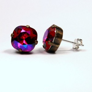 Fuchsia Swarovski Crystal Stud Earrings