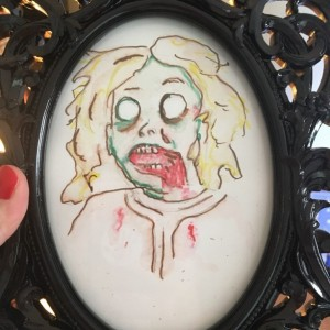 Framed original Zombie Heather Portrait in watercolor and Marker